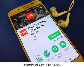 Amsterdam, Netherlands. June 28, 2018: CNN  breaking US and world news application on smartphone screen. CNN news mobile app is for international audience.