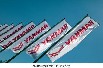 Amsterdam, Netherlands -june 28, 2018: Yanmar flags in Amsterdam, Holland