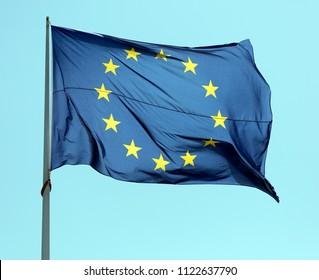 Amsterdam, Netherlands -june 28, 2018: European flag in Amsterdam, Holland