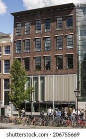 Amsterdam, Netherlands - June 29: Anne Frank house and holocaust museum in Amsterdam, Netherlands, on June 29, 2014. Anne Frank house is a popular tourist destination.