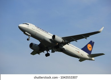 Amsterdam, the Netherlands  -  June 2nd, 2017: D-AIUB Lufthansa Airbus A320 taking off from Polderbaan Runway Amsterdam Airport Schiphol