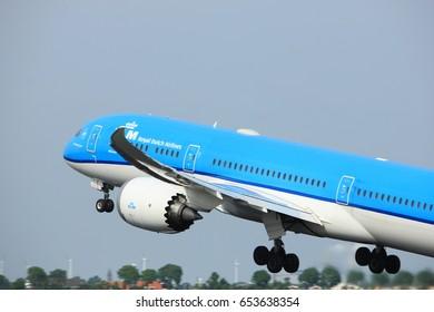 Amsterdam, the Netherlands  -  June 2nd, 2017: PH-BHG KLM Royal Dutch Airlines Boeing 787-9 Dreamliner taking off from Polderbaan Runway Amsterdam Airport Schiphol