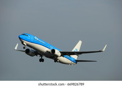 Amsterdam, the Netherlands  -  June 2nd, 2017: PH-BXD KLM Royal Dutch Airlines Boeing 737-800 taking off from Polderbaan Runway Amsterdam Airport Schiphol
