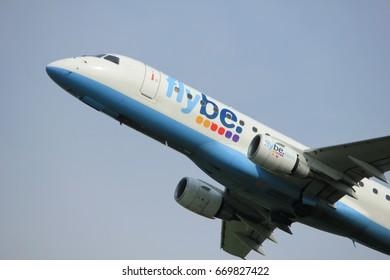 Amsterdam, the Netherlands  -  June 2nd, 2017: G-FBJH Flybe Embraer ERJ-175 taking off from Polderbaan Runway Amsterdam Airport Schiphol
