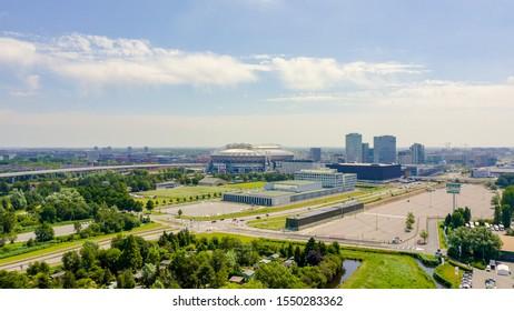 Amsterdam, Netherlands - June 30, 2019: Johan Cruijff ArenA (Amsterdam Arena). 2020 FIFA World Cup venue, Aerial View