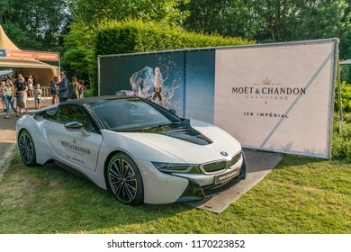 Amsterdam, The Netherlands - June 3th 2018: Electric BMW with Moet chandon advertising outside Dutch Food festival in the Amstelpark in Amsterdam