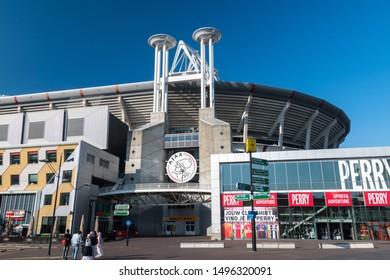 Amsterdam, Netherlands - June 6, 2019: Amsterdam Arena Stadium. Amsterdam Arena is a multifunctional stadium and home of the professional football club Ajax Amsterdam.