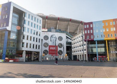 Amsterdam, Netherlands - June 6, 2019: One of Entrance to Johan Cruyff Arena. Johan Cruyff Arena known ad Amsterdam Arena is the main stadium of the Dutch capital city of Amsterdam.