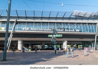 Amsterdam, Netherlands - June 6, 2019: Amsterdam Bijlmer ArenA railway station.