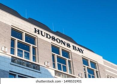 Amsterdam, Netherlands - June 6, 2019: Hudson's Bay sign. The Hudson's Bay Company is a Canadian retail business group.