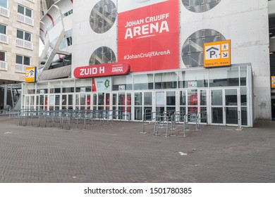 Amsterdam, Netherlands - June 6, 2019: Entrance to Johan Cruyff Arena. Johan Cruyff Arena known ad Amsterdam Arena is the main stadium of the Dutch capital city of Amsterdam.