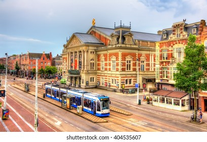 Amsterdam, Netherlands - June 9, 2014: View of the Royal Concertgebouw, a concert hall in Amsterdam. The hall opened on 11 April 1888.
