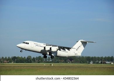 Amsterdam, the Netherlands - June 9th 2016: EI-RJE Cityjet British Aerospace Avro RJ85 , takeoff from Polderbaan runway Schiphol, destination London, United Kingdom