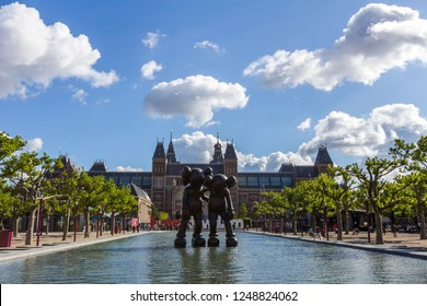 AMSTERDAM, NETHERLANDS - MAR 13, 2016: The Rijksmuseum is a Dutch national museum dedicated to arts and history in Amsterdam. The museum is located at the Museum Square in the borough Amsterdam South.