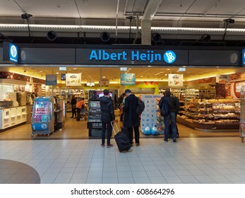 AMSTERDAM, NETHERLANDS - MARCH 10, 2017. Albert Heijn supermarket in Schipol Plaza, Amsterdam. Albert Heijn B.V. is the largest Dutch supermarket chain, founded in 1887 in Oostzaan, Netherlands.