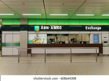 AMSTERDAM, NETHERLANDS - MARCH 10, 2017. ABN AMRO bank exchange office in Amsterdam Airport Schiphol. ABN AMRO Bank N.V. is the third-largest bank in Netherlands.