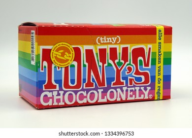 Amsterdam, the Netherlands - March 10, 2019: Package of Tony's Chocolonely Tiny Tony's against a white background.