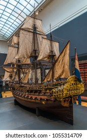 Amsterdam, The Netherlands, March 10th 2018: Old VOC ship replica at the Rijksmuseum in the centre of Amsterdam