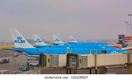 Amsterdam, Netherlands - March 11, 2016: KLM airplane parked at Schiphol airport.