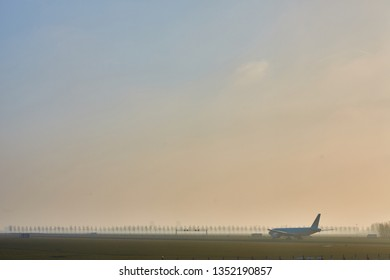 Amsterdam, Netherlands - March 11, 2016: Amsterdam Airport Schiphol in Netherlands. AMS is the Netherlands' main international airport, located southwest of Amsterdam