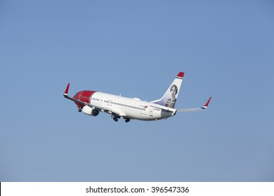 AMSTERDAM, THE NETHERLANDS - MARCH, 13. The Norwegian Airlines Boeing 737-8JP (Sigrid Undset Livery) with id LN-NGY takes off at Amsterdam Airport Schiphol (The Netherlands, AMS) on March 13, 2016.
