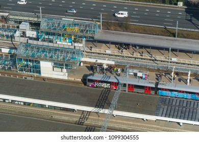 AMSTERDAM, NETHERLANDS - MARCH 17, 2017: Amsterdam-South railroad station. The station processes over 80,000 passengers a day