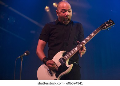 Amsterdam, The Netherlands - March 19, 2017: Concert of Canadian hard rock heavy metal band Danko Jones at Melkweg