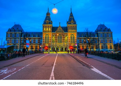 Amsterdam, Netherlands - March 19 2017: The Rijksmuseum Amsterdam museum area with the words IAMSTERDAM in Amsterdam, Netherlands.