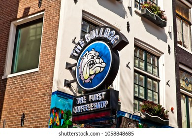 Amsterdam, Netherlands - March, 2017: The first coffeshop Bulldog in Amsterdam city on Red lights street, Holland
