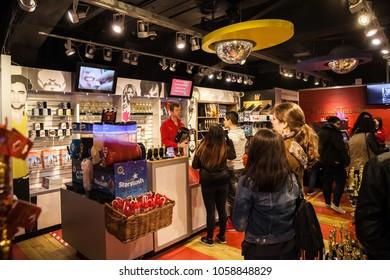 Amsterdam, Netherlands - March, 2017: Interior of Madame Tussauds Wax museum in Amsterdam, Netherlands