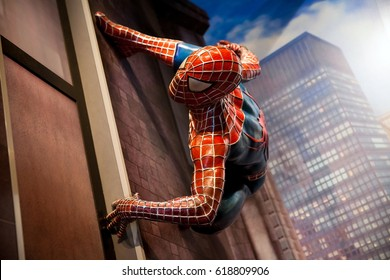 Amsterdam, Netherlands - March, 2017: Spiderman Marvel comics in Madame Tussauds Wax museum in Amsterdam, Netherlands