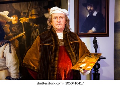 Amsterdam, Netherlands - March, 2017: Wax figure of Rembrandt van Rijn painter in Madame Tussauds Wax museum in Amsterdam, Netherlands