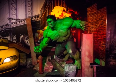Amsterdam, Netherlands - March, 2017: Wax figure of fictional superhero Hulk in Madame Tussauds Wax museum in Amsterdam, Netherlands