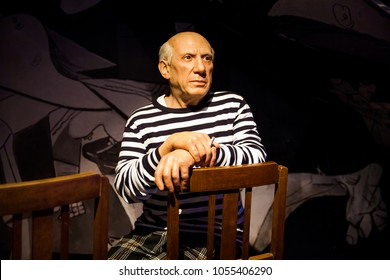 Amsterdam, Netherlands - March, 2017: Wax figure of Spanish painter and sculptor Pablo Picasso in Madame Tussauds Wax museum in Amsterdam, Netherlands