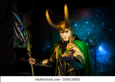 Amsterdam, Netherlands - March, 2017: Wax figure of Loki fictional character from American comic books in Madame Tussauds Wax museum in Amsterdam, Netherlands