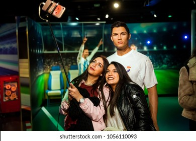 Amsterdam, Netherlands - March, 2017: Wax figure of Cristiano Ronaldo soccer player in Madame Tussauds Wax museum in Amsterdam, Netherlands