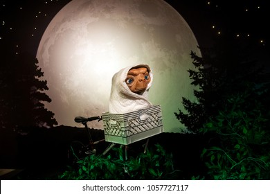 Amsterdam, Netherlands - March, 2017: Wax figure of E.T. the Extra-Terrestrial from American science fiction film in Madame Tussauds Wax museum in Amsterdam, Netherlands