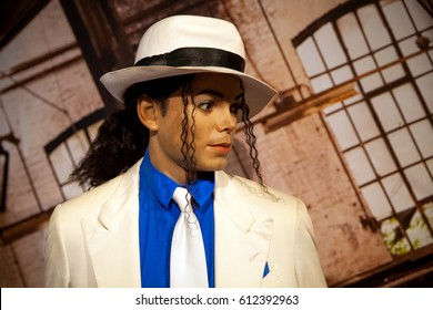 Amsterdam, Netherlands - March, 2017: Wax figure of Michael Jackson in Madame Tussauds Wax museum in Amsterdam, Netherlands