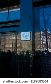 AMSTERDAM, NETHERLANDS - MARCH, 2018: Door of the Anne Frank house located at the Old Central district in Amsterdam