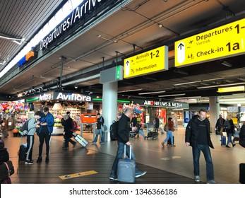 Amsterdam, Netherlands - March 22, 2019; Interiror of Schiphol Airport in Amsterdam, Netherlands.