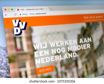 Amsterdam, The Netherlands - March 23, 2018: The official homepage of The People's Party for Freedom and Democracy (VVD), a conservative-liberal political party in the Netherlands.