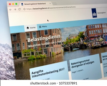 Amsterdam, Netherlands - March 23, 2018: The official homepage of The Tax and Customs Administration (Dutch: Belastingdienst) is the tax collection and customs service of the the Netherlands.