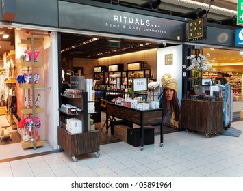 AMSTERDAM, NETHERLANDS - MARCH 25, 2016. The Rituals Home and Body Cosmetics Shop in Schiphol Plaza, Amsterdam.