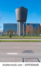 AMSTERDAM,  NETHERLANDS - MARCH 25, 2017: Water tower of the Amsterdam Waternet, a government company that is engaged in drinking water supply, sewerage and water management.