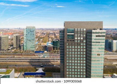 AMSTERDAM, NETHERLANDS - MARCH 25, 2017: Modern skyline at the amsterdam south-axis, the financial district of the dutch capital