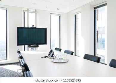 AMSTERDAM, NETHERLANDS - MARCH 25, 2017: Modern light conference room in a skyscraper