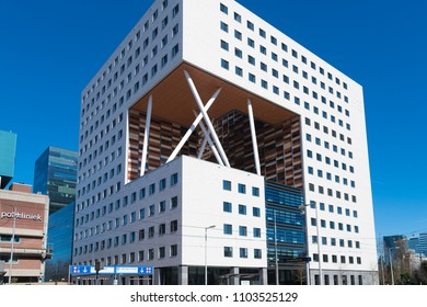 AMSTERDAM, NETHERLANDS - MARCH 25, 2017: Exterior of a modern offie building in the capital's business district