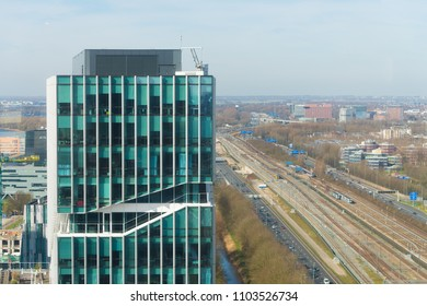 AMSTERDAM, NETHERLANDS - MARCH 25, 2017: Modern office buildings on the amsterdam south axis, the capital's business district