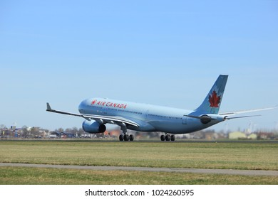 Amsterdam the Netherlands - March 25th, 2017: C-GFAJ Air Canada Airbus A330-300 takeoff from Polderbaan runway.