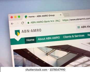 Amsterdam, The Netherlands - March 27, 2018: Homepage of ABN AMRO Bank, a Dutch bank with headquarters in Amsterdam. ABN AMRO Bank is the third-largest bank in the Netherlands.